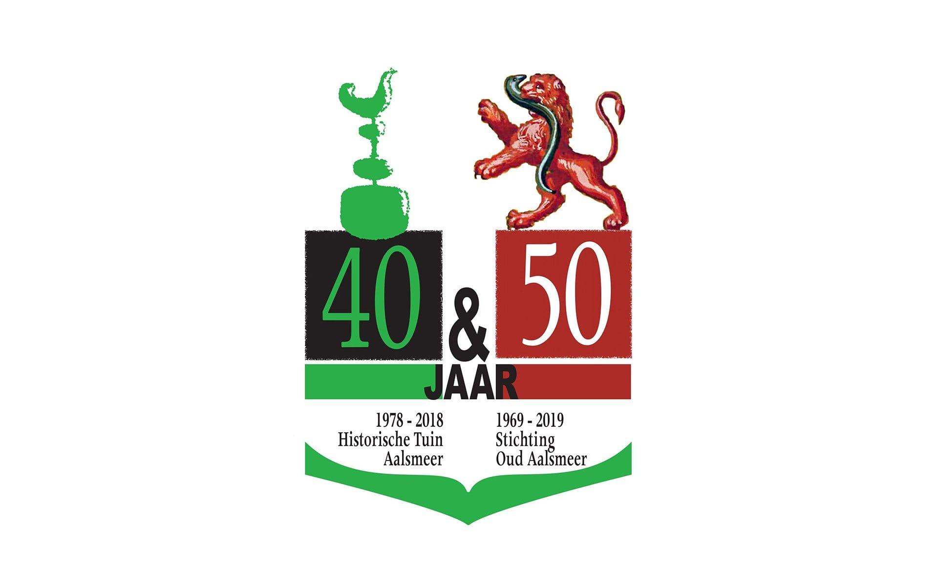 Jubileumlogo 40 jaar Historische Tuin Aalsmeer - 50 jaar Stichting Oud Aalsmeer