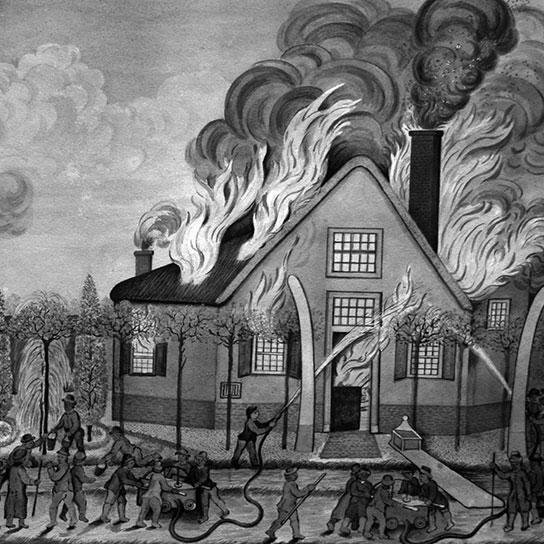 Oudste schilderij brand in het huis met de walviskaken aan de Uiterweg